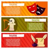 Wektorowy sztandar z theatre ikonami czaszka, lira, lir, harfa, piórko, scenariusz, pismo, scenopis, ciągłość, książka ilustracji