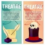 Wektorowy sztandar z theatre ikonami czaszka, lira, lir, harfa, piórko, scenariusz, pismo, scenopis, ciągłość, książka royalty ilustracja
