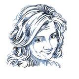 Wektorowy sztuka rysunek, portret naiwna naganna dziewczyna odizolowywająca Obraz Stock