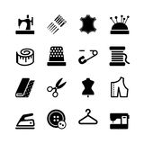Wektorowy szwalny wyposażenia i uszycia ikony set Obrazy Stock