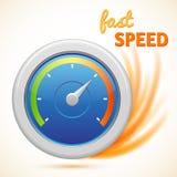 Wektorowy szybkiej prędkości symbol, szybkościomierz odizolowywający Obrazy Stock