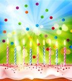 Wektorowy tło dla urodziny z tortem i świeczkami Obraz Stock