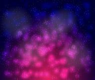 Wektorowy tło nieskończona przestrzeń z gwiazdami, galaxies, mgławicy jaskrawi kleksy z białymi kropkami i royalty ilustracja