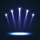 Wektorowy tło Z Grupowymi Jaskrawymi światłami reflektorów ilustracja wektor