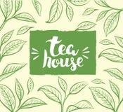 Wektorowy tło z herbacianym liściem ilustracji
