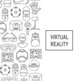 Wektorowy tło z liniowymi stylowymi rzeczywistość wirtualna elementami i miejsce dla teksta royalty ilustracja