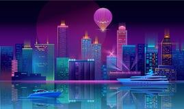Wektorowy tło z nocy miastem w neonowych światłach royalty ilustracja