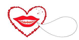 Wektorowy tło z uśmiechniętymi żeńskimi wargami z czerwonymi sercami ilustracji