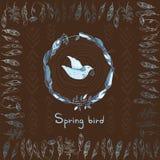 Wektorowy tło z wiosna ptakiem robić piórka ramą i Obrazy Stock