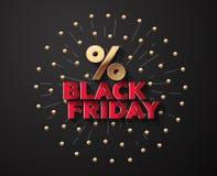 Wektorowy tło Dla Black Friday Z salutu i procentu symbolem Zdjęcie Stock