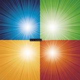 Kolekcja 4 koloru wybuchu tło. Zdjęcia Stock
