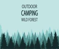 WEKTOROWY tło: plenerowy campingowy dziki las Fotografia Stock