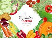 Wektorowy tło z warzywami: kapusta, karczoch, pomidor, asparagus, zucchini, szpinak, bania, marchewki, kukurudza i ilustracja wektor