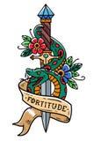 Wektorowy tatuażu kindżał z zielonego węża, kwiatu, faborku i literowania hartem, Węży opakunki wokoło starego kindżału stara szk Zdjęcia Stock
