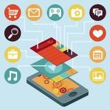 Wektorowy telefon komórkowy - infographic elementy Zdjęcia Royalty Free