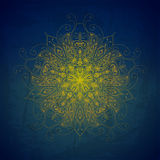 Wektorowy tło z ornamentami Wektorowy mandala Błękitny backgroun Zdjęcia Royalty Free
