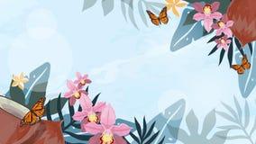 Wektorowy tropikalny d?ungli t?o z drzewkami palmowymi i li??mi niebieski obraz nieba t?czow? chmura wektora royalty ilustracja
