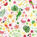 Wektorowy tropikalny kwiecisty bezszwowy wzór Obrazy Royalty Free