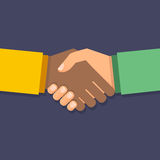 Wektorowy uścisku dłoni symbol pojęcia różna ręk partnerstwa kawałków łamigłówka dwa Biznesowa ikona Zdjęcie Stock