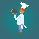 Wektorowy uśmiechnięty kucbarski szef kuchni z naczyniem Royalty Ilustracja
