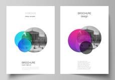 Wektorowy układ A4 formata nowożytni okładkowi mockups projektuje szablony dla broszurki, magazyn, ulotka, broszura, rocznik ilustracja wektor