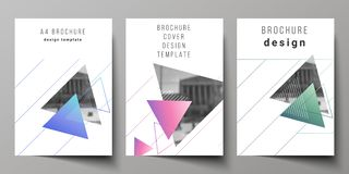 Wektorowy układ A4 formata nowożytni okładkowi mockups projektuje szablony dla broszurki, magazyn, ulotka, broszura, rocznik royalty ilustracja