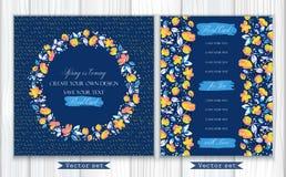 Wektorowy ustawiający dwa zaproszenia z lub kartki z pozdrowieniami uroczym abstrakcjonistycznym koralem, kolorów żółtych kwiatam ilustracji