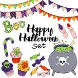 Wektorowy ustawiający Halloween elementy royalty ilustracja