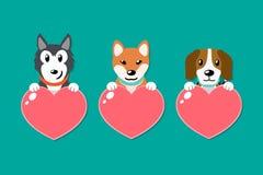 Wektorowy ustawiający psy z kierowymi znakami ilustracja wektor
