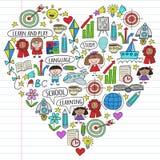 Wektorowy ustawiający uczenie język angielski, dziecko rysuje ikony w doodle stylu Malujący, kolorowy, obrazki na kawałku ilustracji