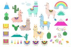 Wektorowy ustawiający śliczne lamy, alpagi i kaktusowi inkasowi elementy, ilustracji