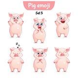 Wektorowy ustawiający śliczni świniowaci charaktery Set 5 Zdjęcie Royalty Free