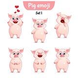 Wektorowy ustawiający śliczni świniowaci charaktery Set 1 Zdjęcia Stock