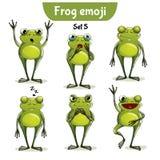 Wektorowy ustawiający śliczni żaba charaktery Set 5 Zdjęcie Royalty Free