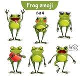 Wektorowy ustawiający śliczni żaba charaktery Set 4 Obraz Stock