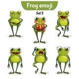 Wektorowy ustawiający śliczni żaba charaktery 2 wyznaczonym przez ornamentu Zdjęcie Stock