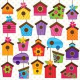 Wektorowy Ustawiający Śliczni i Kolorowi Ptasi domy royalty ilustracja