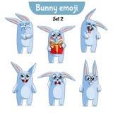 Wektorowy ustawiający śliczni królików charaktery 2 wyznaczonym przez ornamentu Obrazy Stock