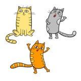 Wektorowy ustawiający śliczni kreskówka koty w różnorodnych pozach Zdjęcie Stock