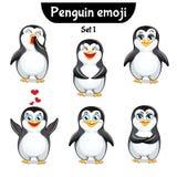Wektorowy ustawiający śliczni pingwinów charaktery Set 1 Obraz Royalty Free
