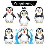 Wektorowy ustawiający śliczni pingwinów charaktery Set 3 Obrazy Royalty Free