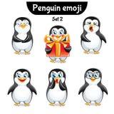 Wektorowy ustawiający śliczni pingwinów charaktery 2 wyznaczonym przez ornamentu Obraz Royalty Free