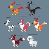 Wektorowy ustawiający śliczny, kreskówka psy Obraz Stock