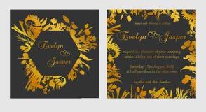 Wektorowy ustawiający ślubni zaproszenia Na ciemnym czerni szary tło z złotem wykłada, lampasy, przewdoniki W dekoracyjnej kwadra ilustracja wektor
