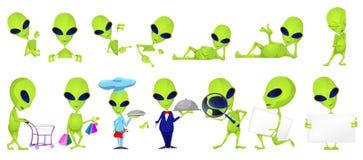 Wektorowy ustawiający śmieszne zielone obcy ilustracje ilustracji