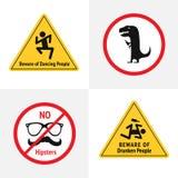 Wektorowy ustawiający śmieszni drogowi znaki dla baru lub noc klubu Ono wystrzega się tanów ludzie, ono wystrzega się opiły, Dino ilustracji