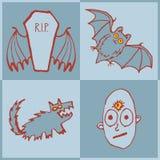 Wektorowy ustawiający śmieszni Halloweenowi potwory Sztuka dla druku Fotografia Royalty Free