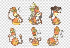 Wektorowy ustawiający śmieszni roboty w konturu stylu z kolorową pełnią Pomarańczowy android z różnymi emocjami elementy dla royalty ilustracja