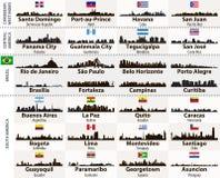 Wektorowy ustawiający Środkowe i Ameryka Południowa miast linii horyzontu abstrakcjonistyczne sylwetki Fotografia Royalty Free
