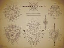 Wektorowy ustawiający Święci geometryczni symbole i postacie na starym papierowym grunge tle Abstrakcjonistyczna mistyczka podpis royalty ilustracja